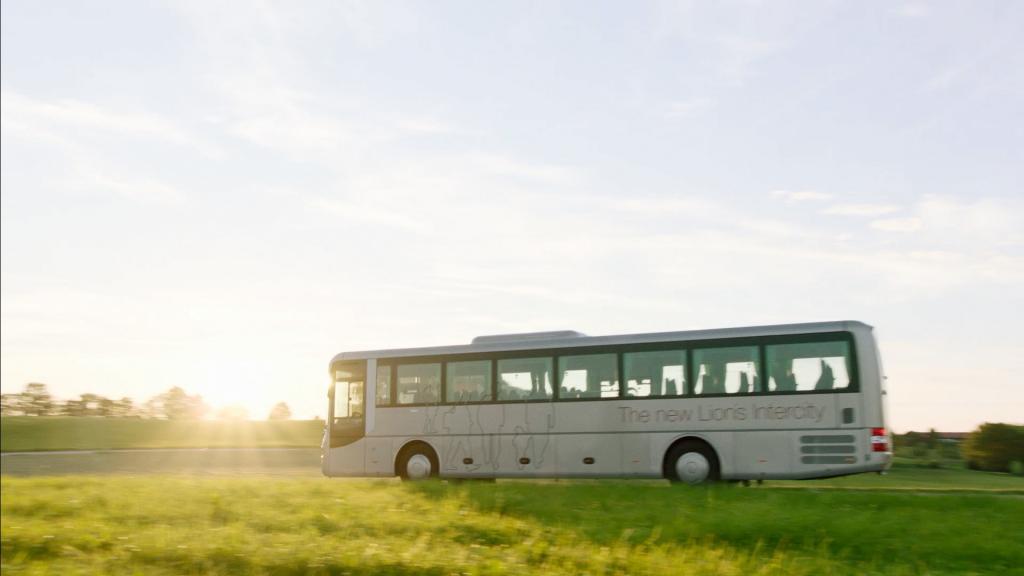MAN Lion's Intercity Überlandbus ibei der Filmproduktion der just GmbH für den Imagefilm der MAN Bus & Truck AG